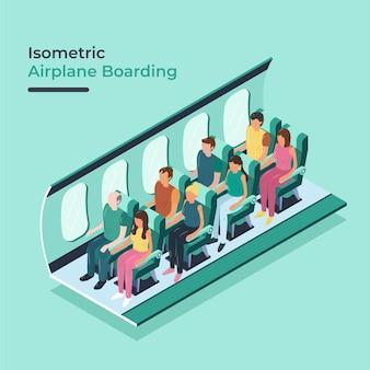 Isometrisches einsteigen in ein flugzeug