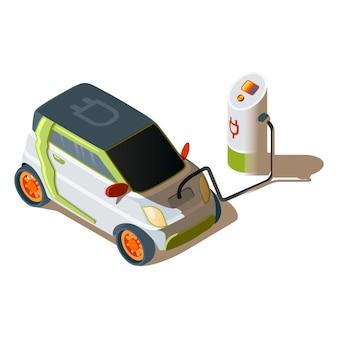 Isometrisches elektroauto an einer ladestation