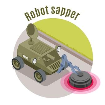 Isometrisches emblem des militärroboters mit roboter-pionier-überschrift und grüner militärischer maschinenillustration