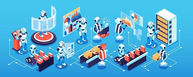 Isometrisches enges konzept des roboterprozesses mit illustration der wissenschafts- und technologiesymbole
