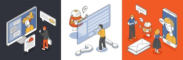 Isometrisches entwurfskonzept mit menschlichen zeichen, die chatbot-illustration fragen
