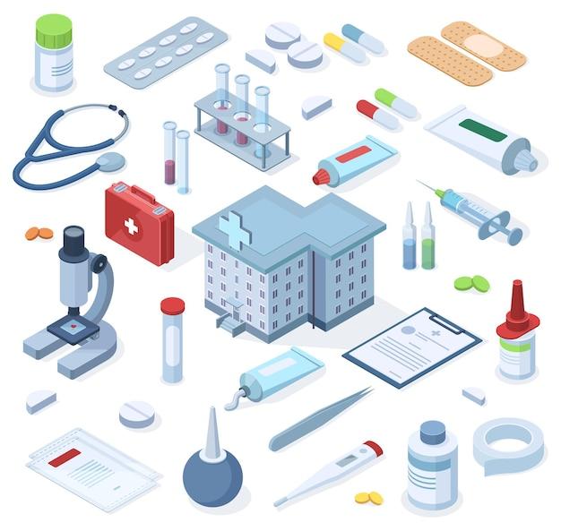 Isometrisches erste-hilfe-set für apotheken im gesundheitswesen. medizinische apotheke des gesundheitswesens, drogen, verband, stethoskopvektorillustrationssatz. erste-hilfe-kasten im krankenhaus, notfallbox, ausrüstung für die behandlung