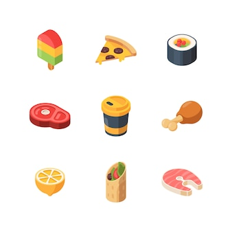 Isometrisches essen. sushi mahlzeit brot obst fisch low poly website icons