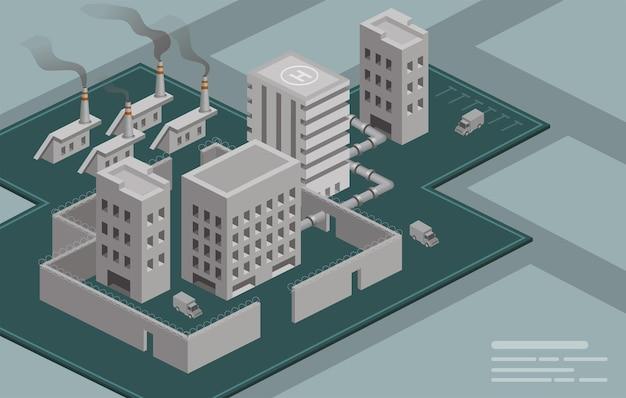 Isometrisches fabrikgebäude. industriefabrik industrielle schornsteinverschmutzung mit rauch in der umwelt. öko-artfabrik, 3d illustration