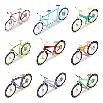 Isometrisches fahrradset mit mountainbike und dreirad