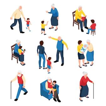 Isometrisches familienset mit großmutter und großvater, die ihre enkelkinder isoliert babysitten