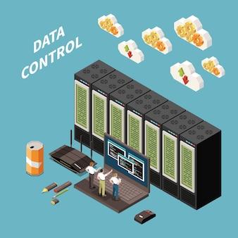 Isometrisches farbkonzept des rechenzentrums mit datensteuerungsüberschrift und abstrakter serverraumillustration