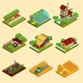 Isometrisches farm-set
