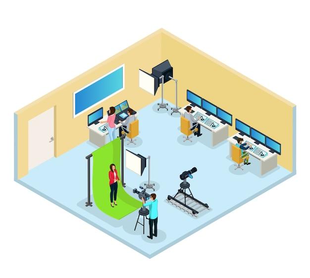 Isometrisches fernsehprogramm, das konzept mit arbeiterreporterarbeitern erstellt, die video und audio isoliert bearbeiten
