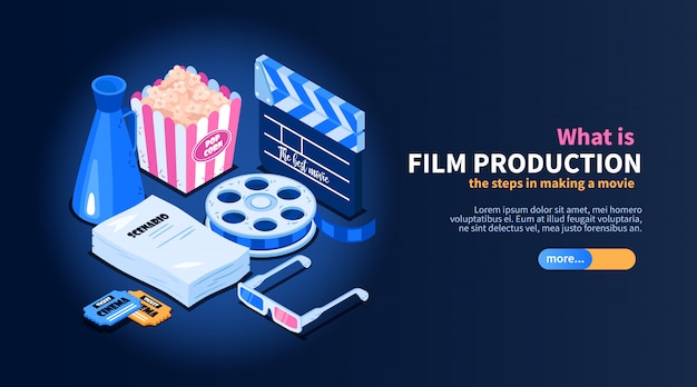 Isometrisches filmkino-flussdiagrammkonzept mit bildern des gelegentlichen kino-bezogenen einzelteiltextes und der schieberknopfillustration
