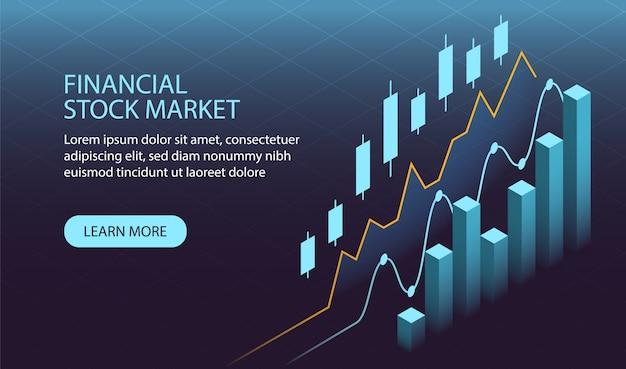 Isometrisches finanzbörsenkonzept