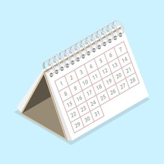 Isometrisches flaches 3d-konzept des kalenders