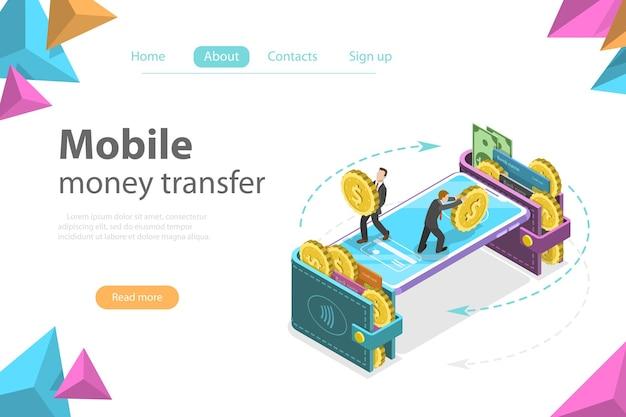 Isometrisches flaches vektorkonzept der mobilen geldbörse