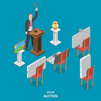 Isometrisches flaches vektorkonzept der online-auktion.
