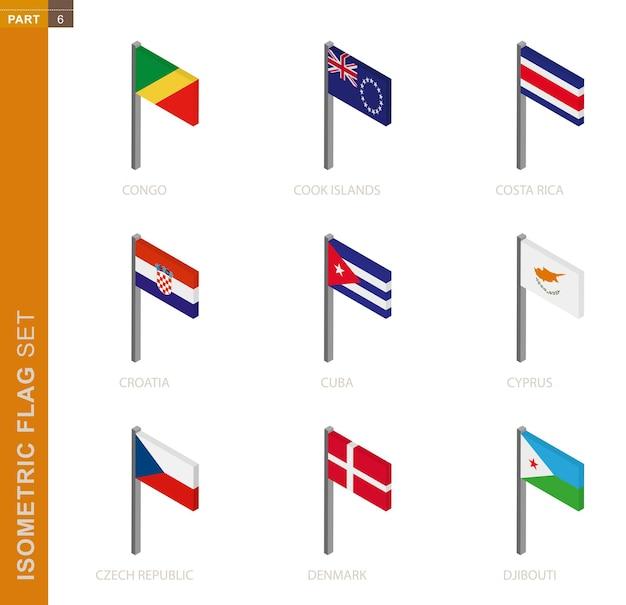 Isometrisches flag gesetzt, fahnenmast in isometrischer dimension. sammlung von neun flaggen.