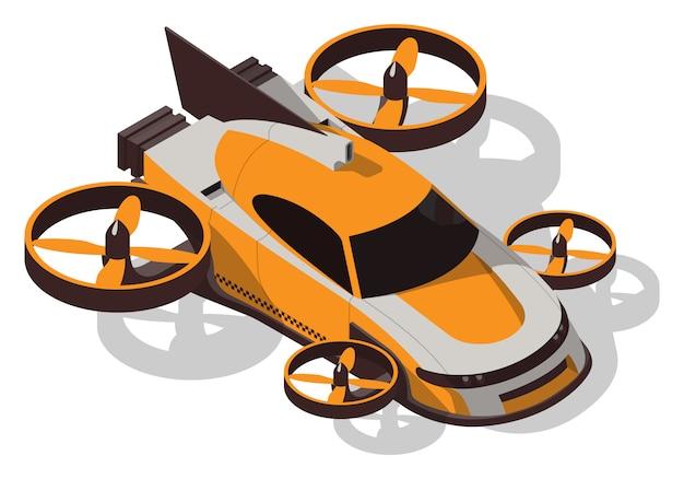 Isometrisches fliegendes taxi. futuristisches konzeptauto isoliert.