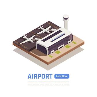 Isometrisches flughafenbanner mit flugzeugen in der nähe des modernen terminalgebäudes mit bearbeitbarem text und schaltfläche