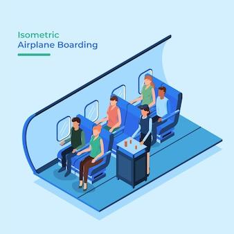 Isometrisches flugzeug boarding mit menschen