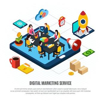 Isometrisches flussdiagramm des digitalen marketings mit leuten, die an der vektorillustration des geschäftsplans 3d arbeiten Kostenlosen Vektoren