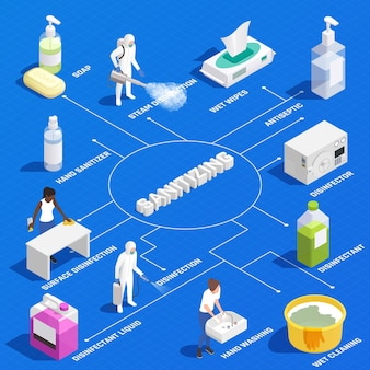 Isometrisches flussdiagramm mit professioneller desinfektion und produkten