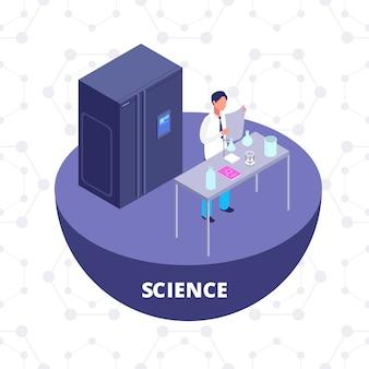 Isometrisches forschungslabor der wissenschaft 3d mit laborausrüstung und wissenschaftlervektorillustration. 3d-symbol des chemielabors isoliert