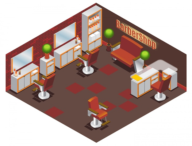 Isometrisches friseurgeschäft innenkonzept mit tischen stühlen sofapflanzen spiegel handtücher und professionelles zubehör isoliert
