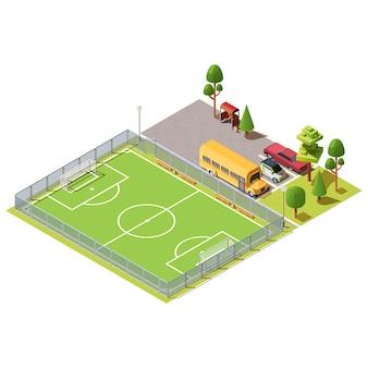 Isometrisches fußballfeld in der nähe des parkplatzes
