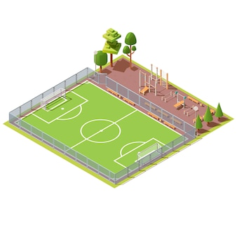 Isometrisches fußballfeld mit trainingsbereich