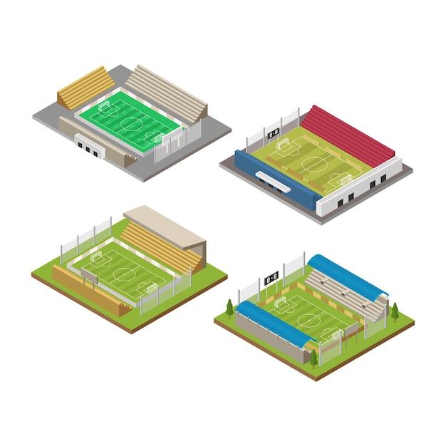 Isometrisches fußballfeldstadiongebäude für fußballsport