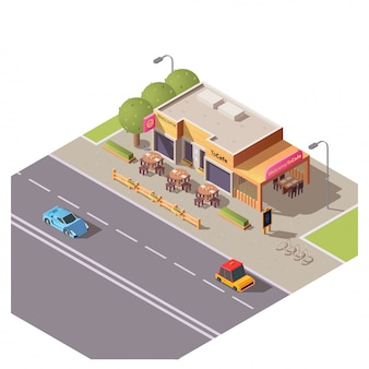Isometrisches gebäude des cafés 3d mit terrasse im freien