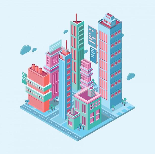 Isometrisches gebäude. großstadt geschäftsstadt. wolkenkratzer überragen moderne gebäude auf weißer illustration
