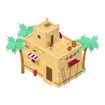 Isometrisches gebäude im nahen osten mit vielen details. schlammziegelhaus. traditionelle arabische architektur.
