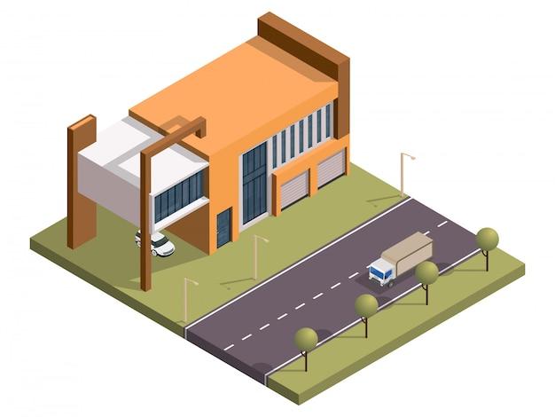 Isometrisches gebäude mit parkplatz und transportstraße.