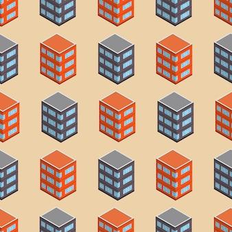 Isometrisches gebäude nahtlose muster. konzepthintergrund der städtischen architektur. stadtgebäude im isometrischen stil. vektor-illustration.