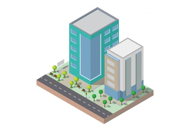 Isometrisches gebäude zwei gebäude auf yard mit straße gebäude 3d, intelligente stadt, büro und stadtwohnung.