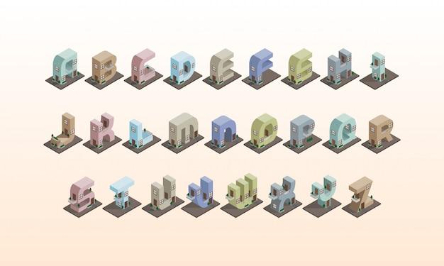 Isometrisches gebäudealphabet 3d, bunte schrift