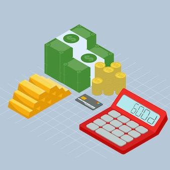 Isometrisches geld gold und bankeinzelteile