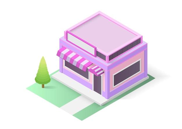 Isometrisches geschäft oder kaffeegebäude. vektor-illustration