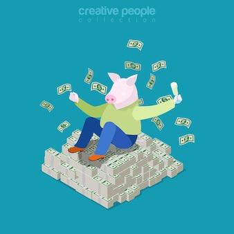 Isometrisches geschäft reiches schweinekonzept. dicker mann mit schweinchenkopf auf haufen dollargeld