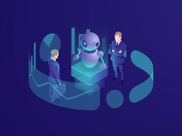 Isometrisches geschäftskonzept des mannes denkend, crm-system, roboter ai der künstlichen intelligenz