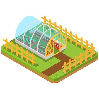 Isometrisches gewächshaus kultivieren die gartenarbeit