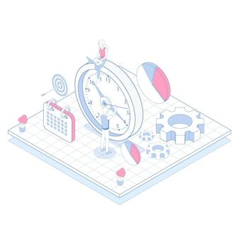 Isometrisches gliederungszeitmanagement Kostenlosen Vektoren