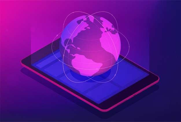 Isometrisches globales satellitentechnologiekonzept