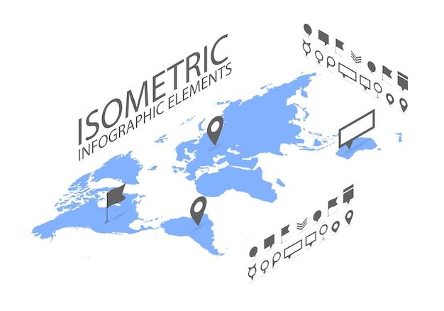 Isometrisches gps-navigationskonzept, weltkarteanwendung und markierungsstiftzeiger