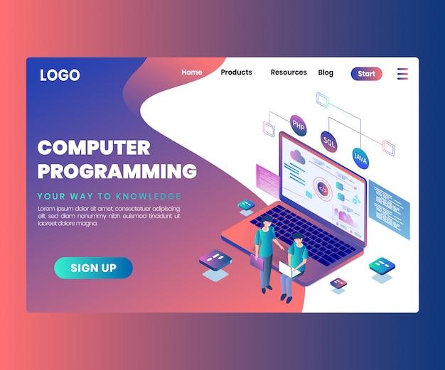 Isometrisches grafik-konzept der computerprogrammierung