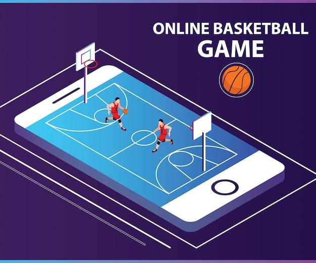 Isometrisches grafikkonzept des online-korb-ball-spiels.