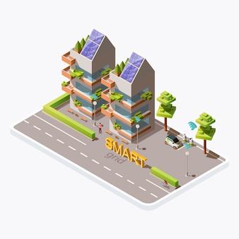 Isometrisches grünes umweltfreundliches stadtgebäude mit sonnenkollektoren auf dach, elektroauto, ladestation nahe straße, lokalisiert auf hintergrund. erneuerbare energien, smart-grid-technologiekonzept
