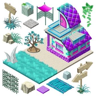 Isometrisches häuschen und elementdesign.