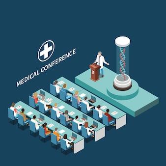 Isometrisches halleninnenelement der medizinischen wissenschaftlichen konferenz mit dna-modellpodiumpräsentation für teilnehmerhintergrundvektorzusammensetzung
