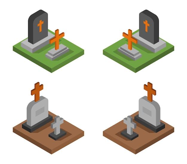 Isometrisches halloween grabstein set